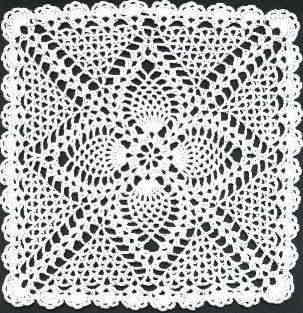 English Free Pineapple Square Doily Crochet Pattern
