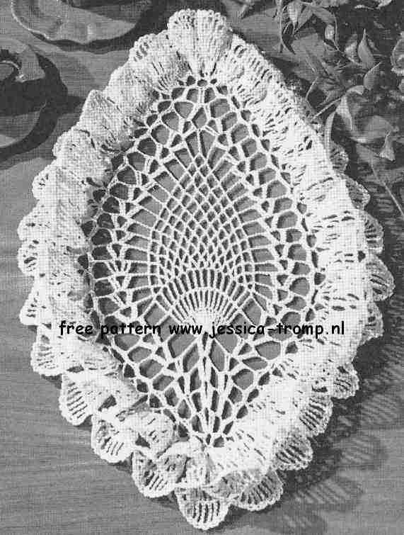 Oval Pineapple Ruffled English Crochet Pattern Vintage Doily Free