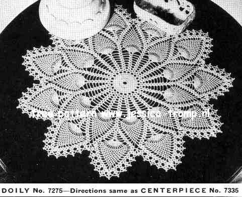 Pineapple Doily No 7275 Free Vintage Crochet Doilies Patterns
