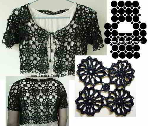 4e English Bolero Crochet Patterns Schematics How Tos