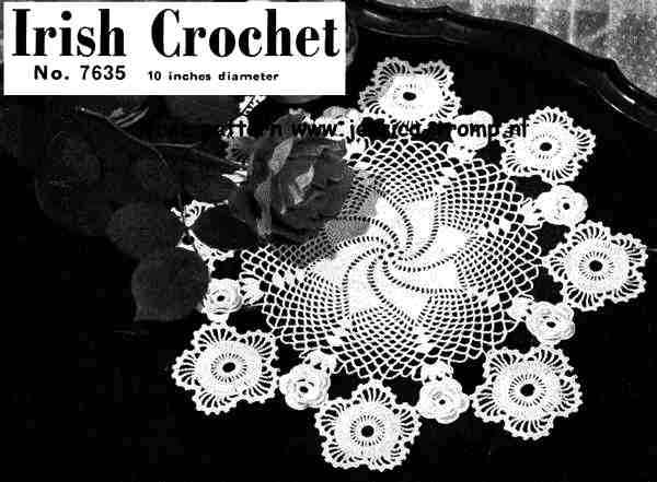 Irish Crochet 7635 English Doily Pattern Free Vintage Crocheted Doilies