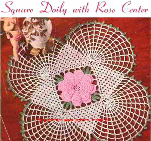Square Doily With Rose Center Free Vintage Crochet Doilies Patterns
