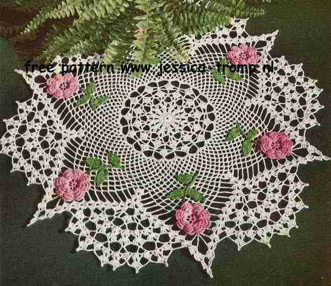 The Rose English Crochet Pattern Vintage Doily Free Doilies