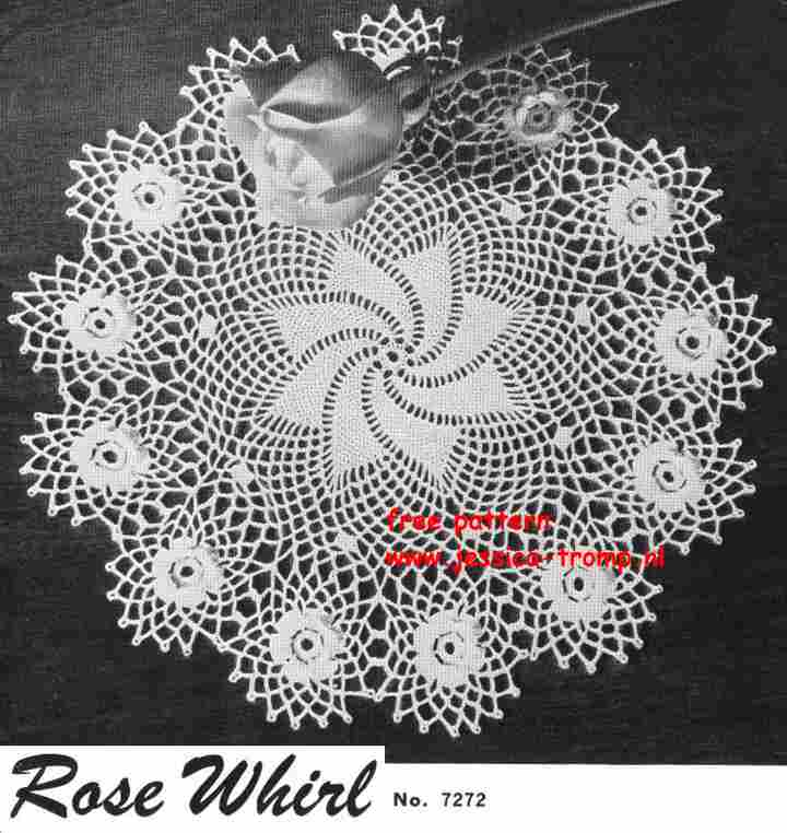 Rose Whirl No 7272 English Crochet Pattern Vintage Doily Free Doilies
