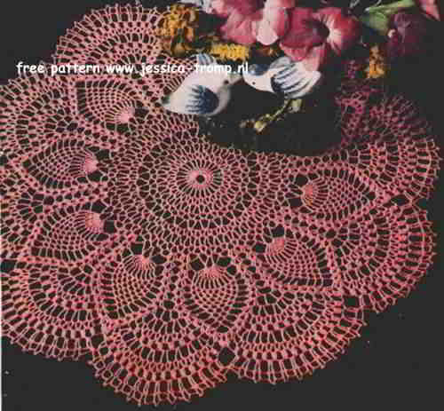 Pink Pineapple English Crochet Pattern Vintage Doily Free Doilies