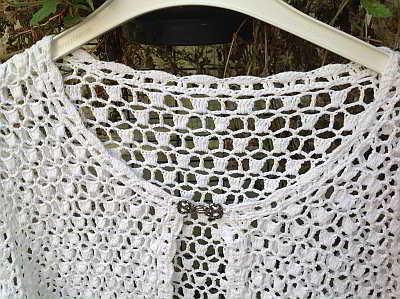 Gehaakt Wit Dames Vest Met Haakpatroon Voor Maat 50