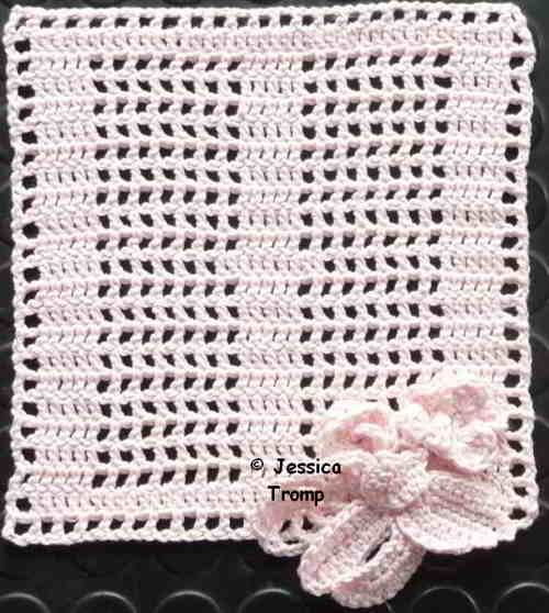 English Pattern Crochet Filet Square With Flowers Filet Haken
