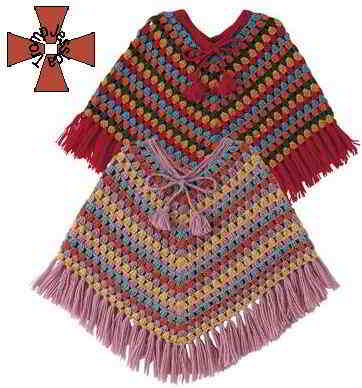 123 English poncho patterns children\'s knitpattern sizes 128 140 152 ...