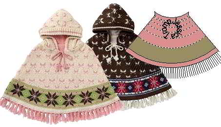 123 English poncho patterns children's knitpattern sizes for