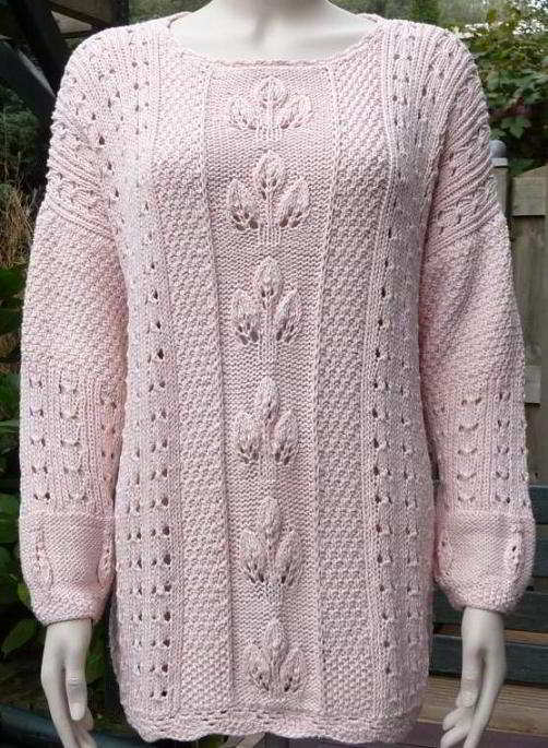 English knitting patterns lace pattern woman leaves