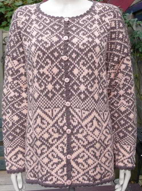 English Norwegian Patterns Fairisle Womens Cardigan Knitting