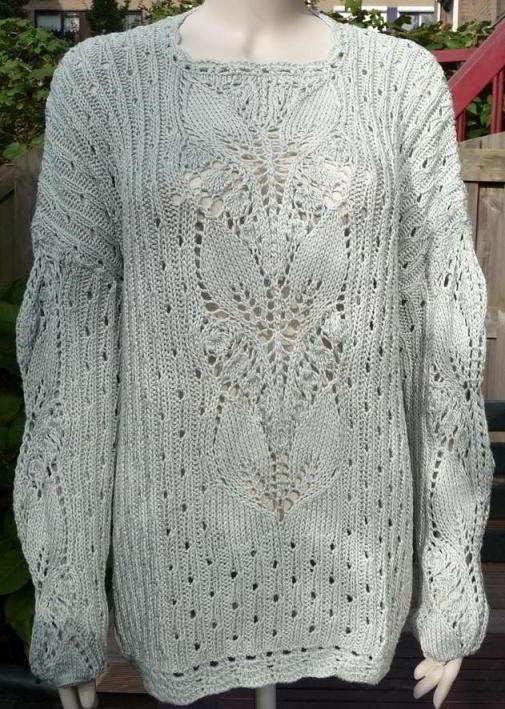 English Womens Sweater Lace Knitting Stitch Green Leaves Pattern